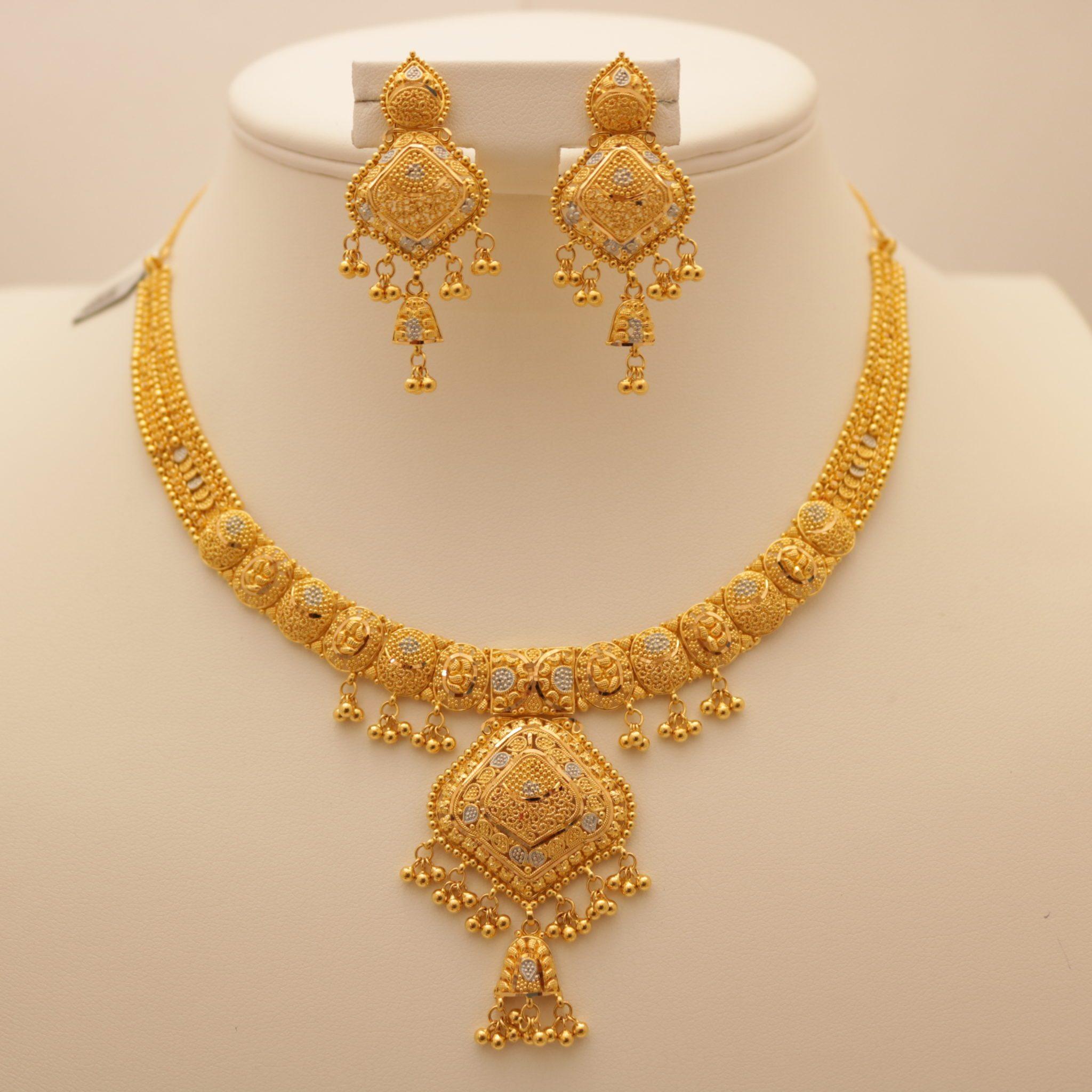 22 Carat Indian Gold Necklace Set 45 3 Grams Gold Forever