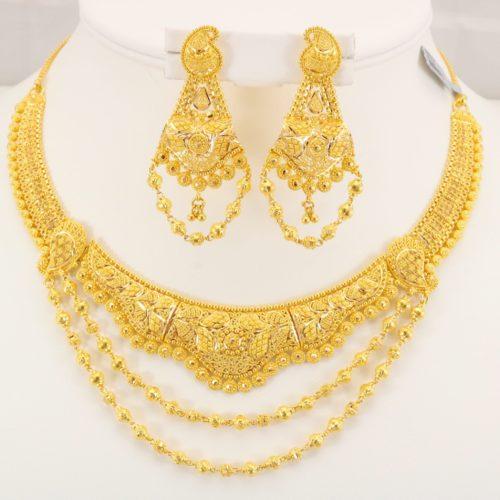 22 Carat Indian Gold Fancy Necklace Set 61 7 Grams