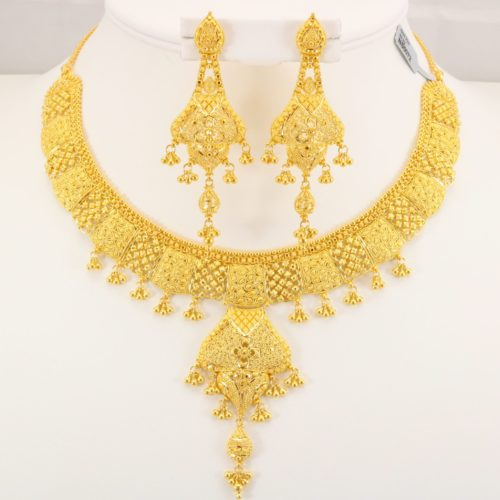 22 Carat Indian Gold Fancy Necklace Set 69 9 Grams