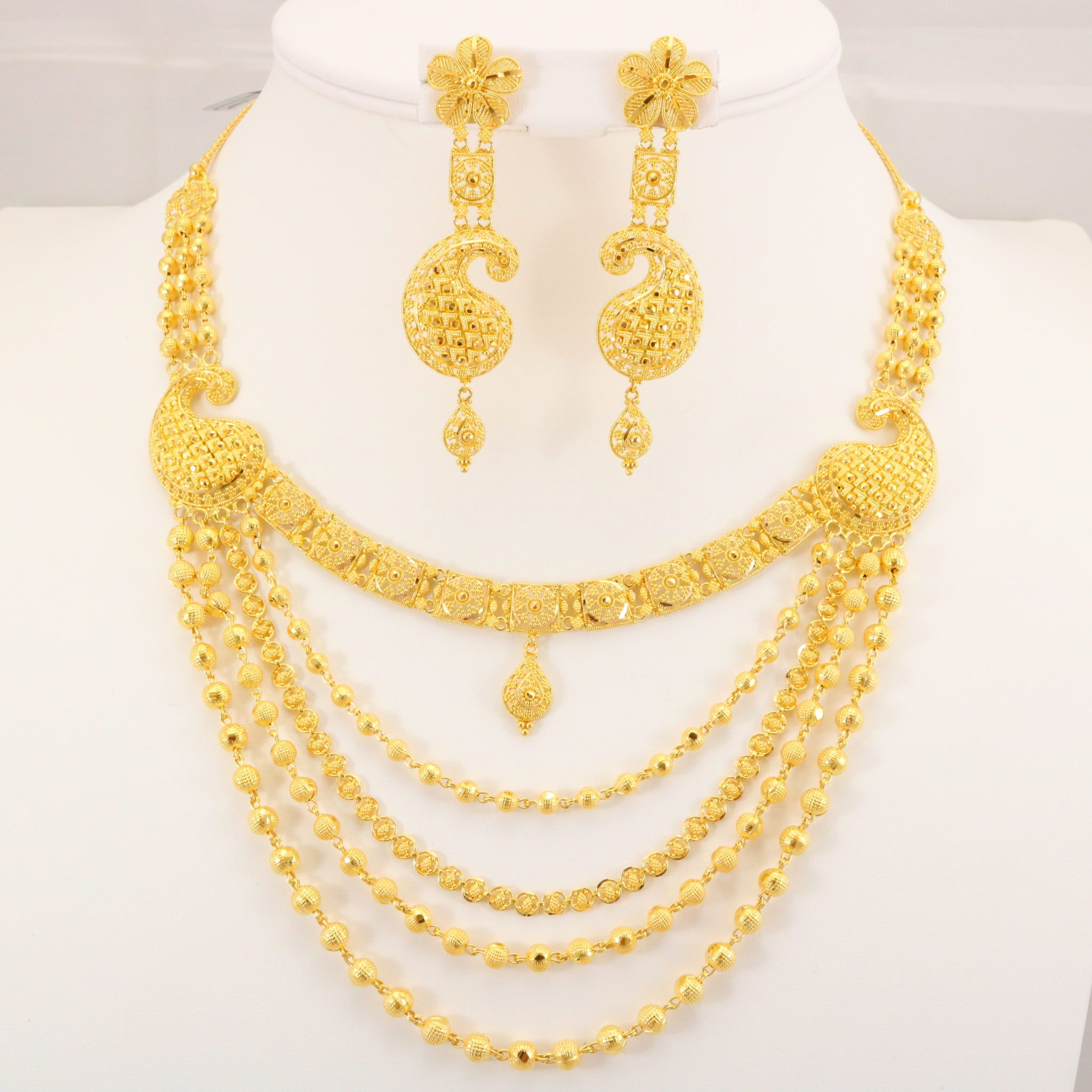 22 Carat Indian Gold 5 Chain Necklace Set 70.4 Grams | Gold Forever