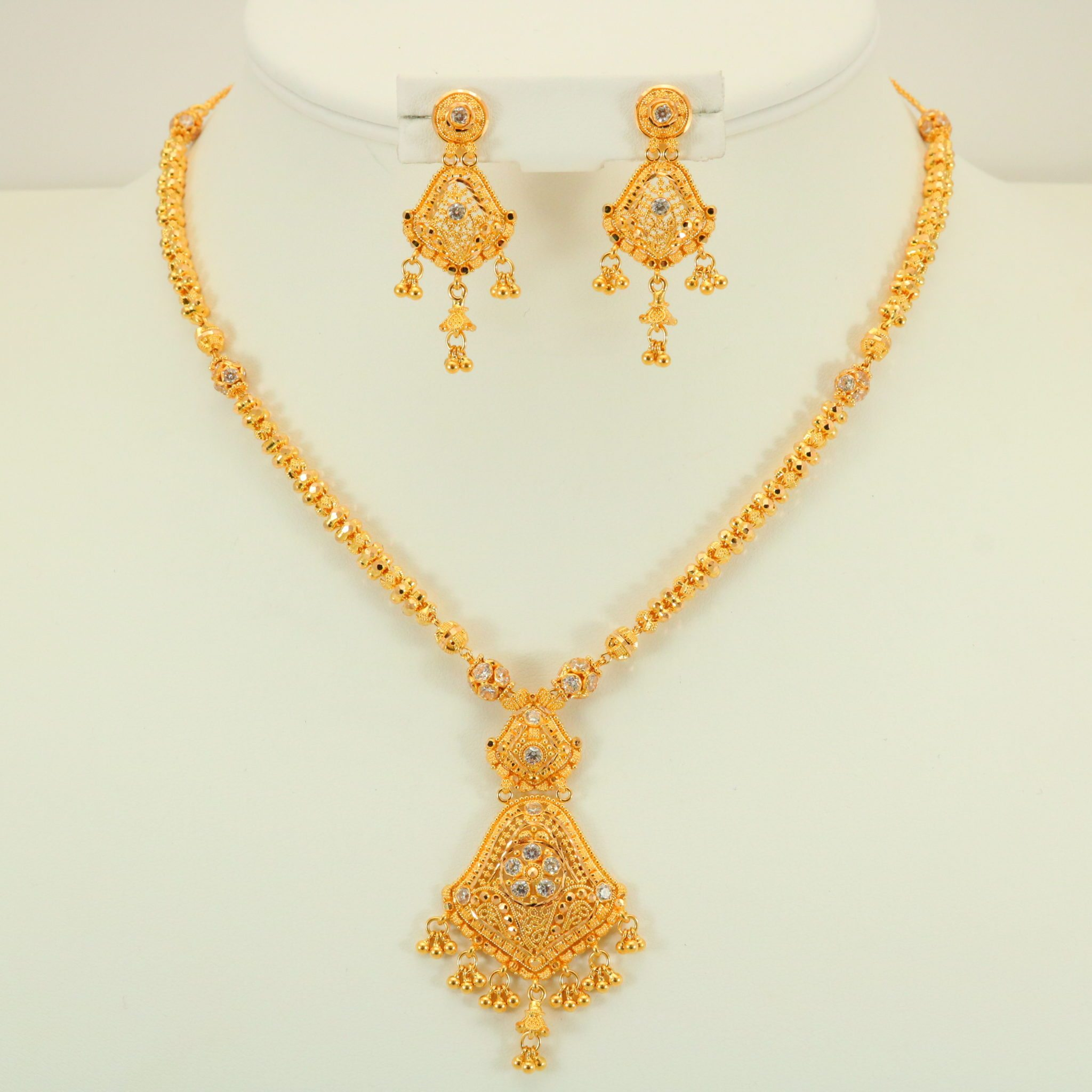 22 Carat Indian Gold Fancy Necklace Set 32.8 Grams | Gold ...