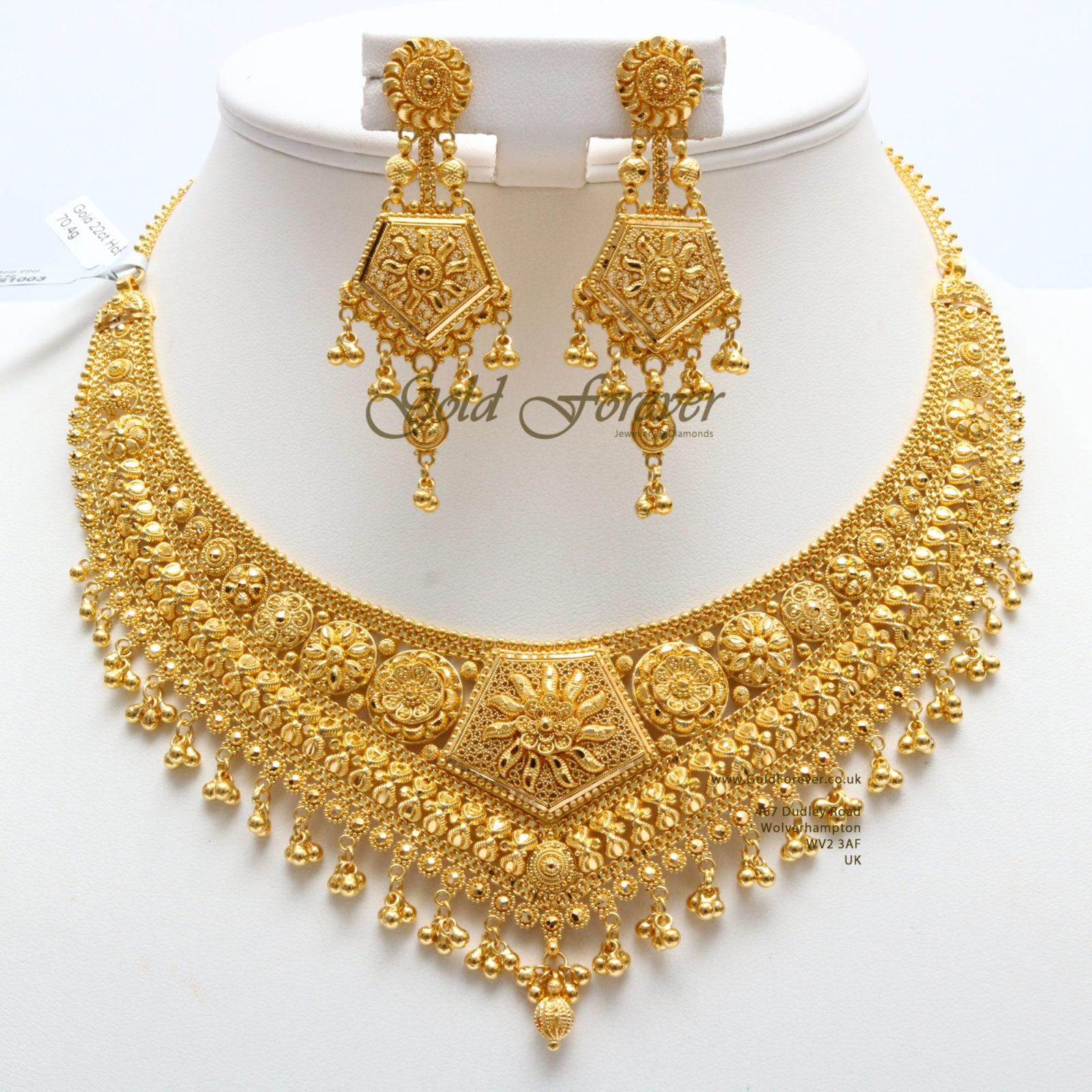22 Carat Indian Gold Necklace Set 70 4 Grams Code Ns1003 Gold