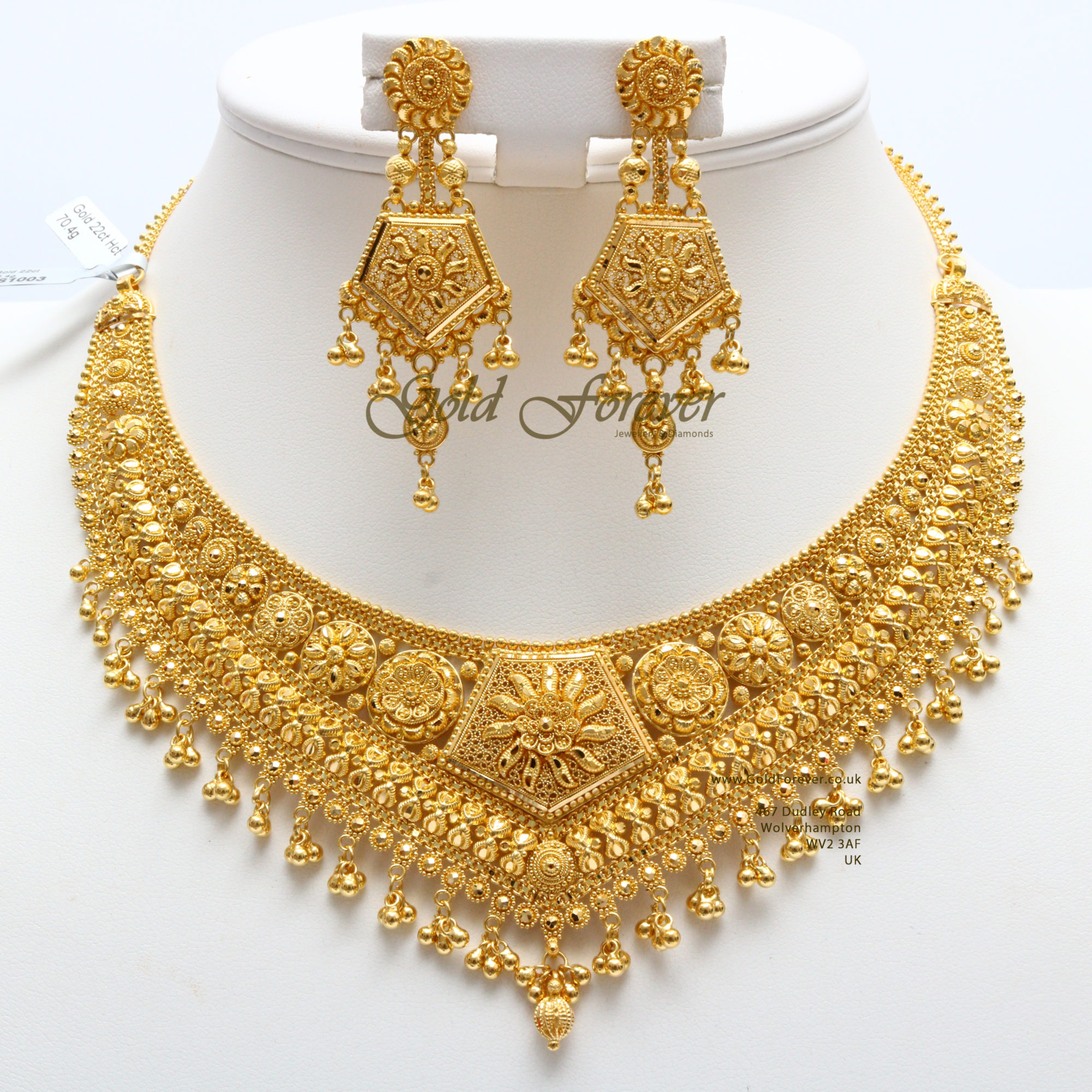 22 Carat Indian Gold Necklace Set 70.4 Grams code:NS1003 ...  |Indian Gold Pendants