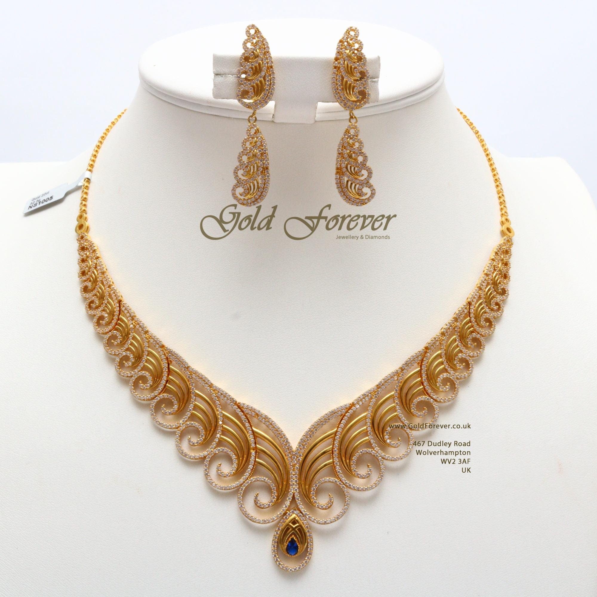 Indian Gold Necklace Set: 22 Carat Indian Gold Fancy Necklace Set 52.5 Grams Code
