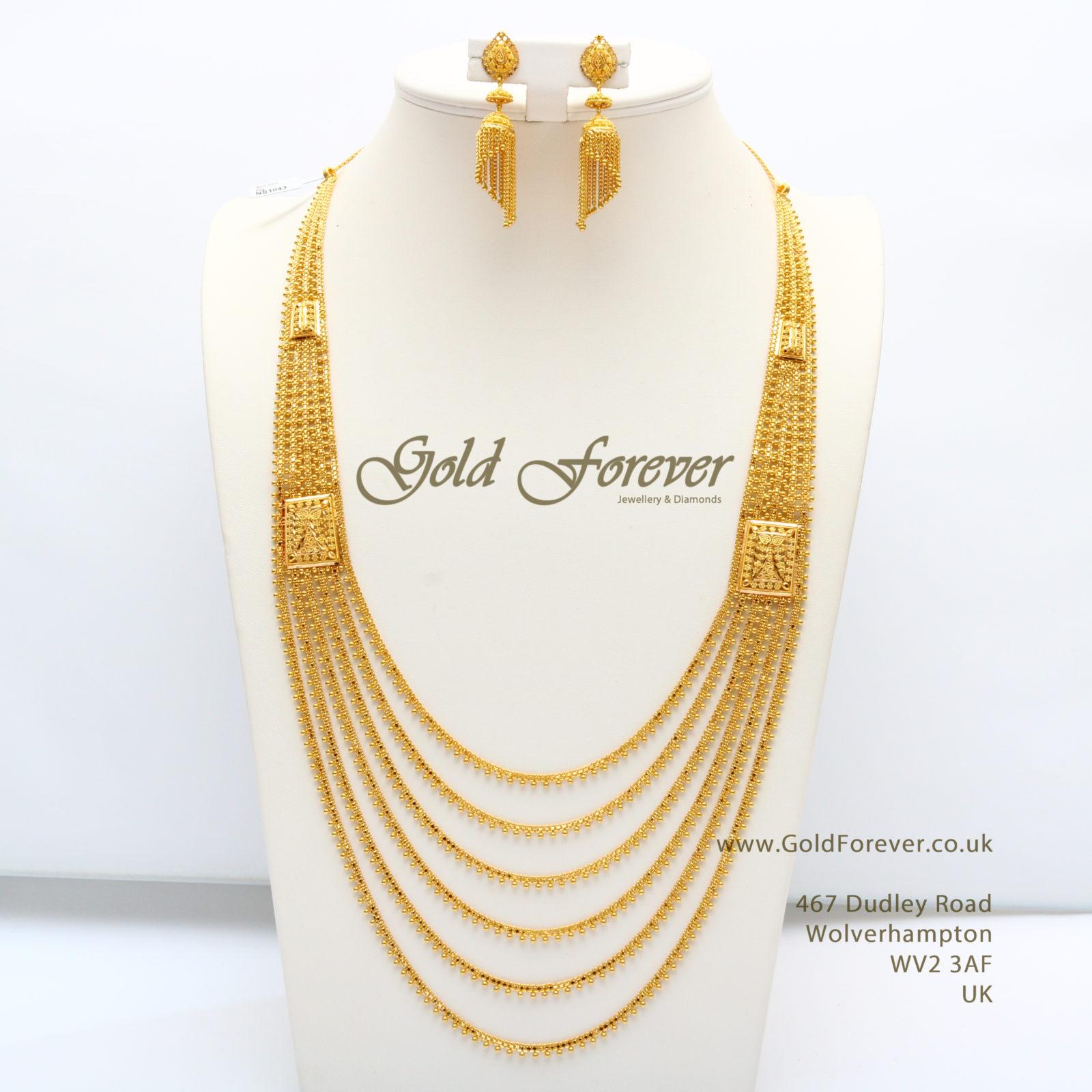 22 Carat Indian Gold Necklace Set 85 Grams Code Ns1043 Gold Forever