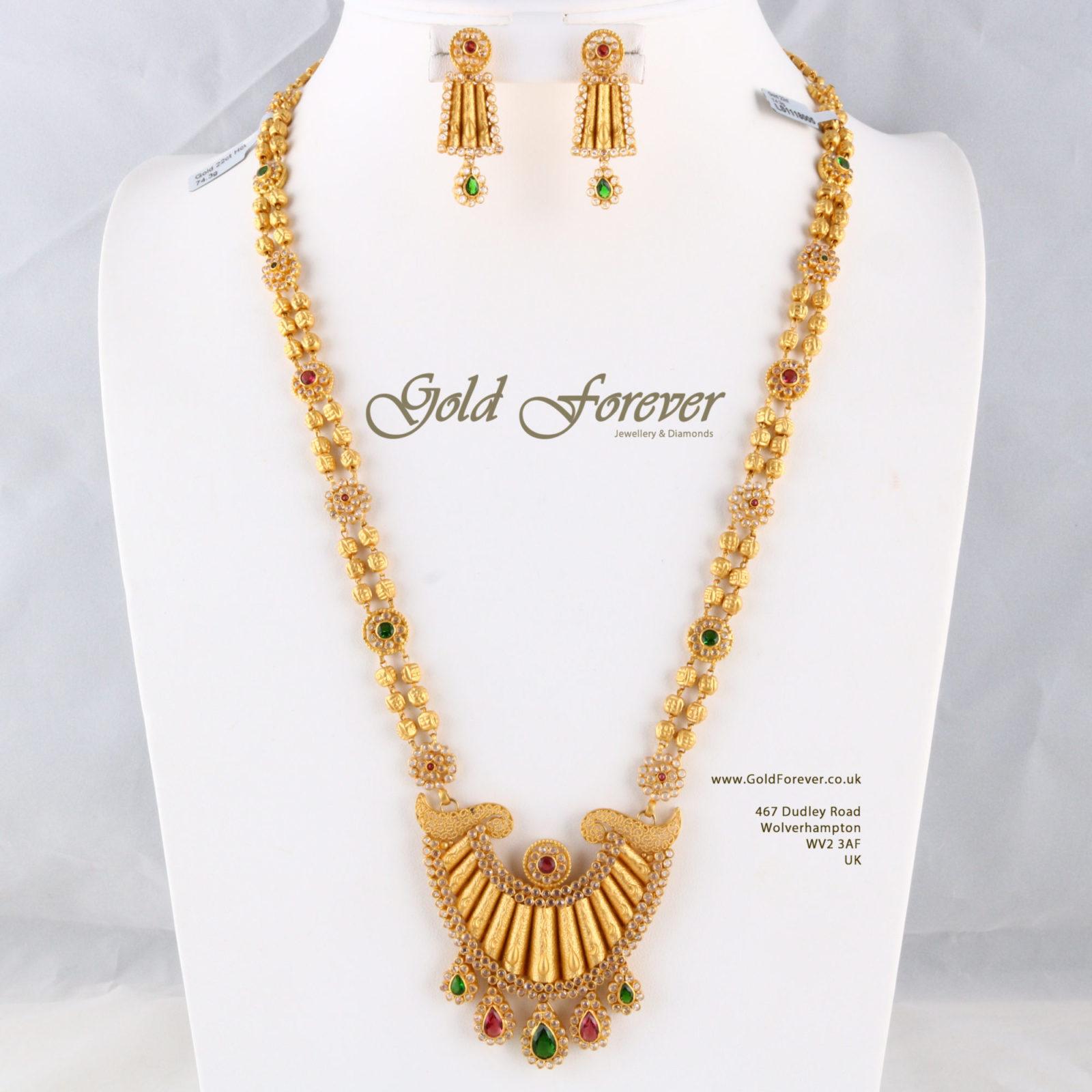 22 Carat Indian Gold Long Necklace 74 3 Grams Code Ls1118005