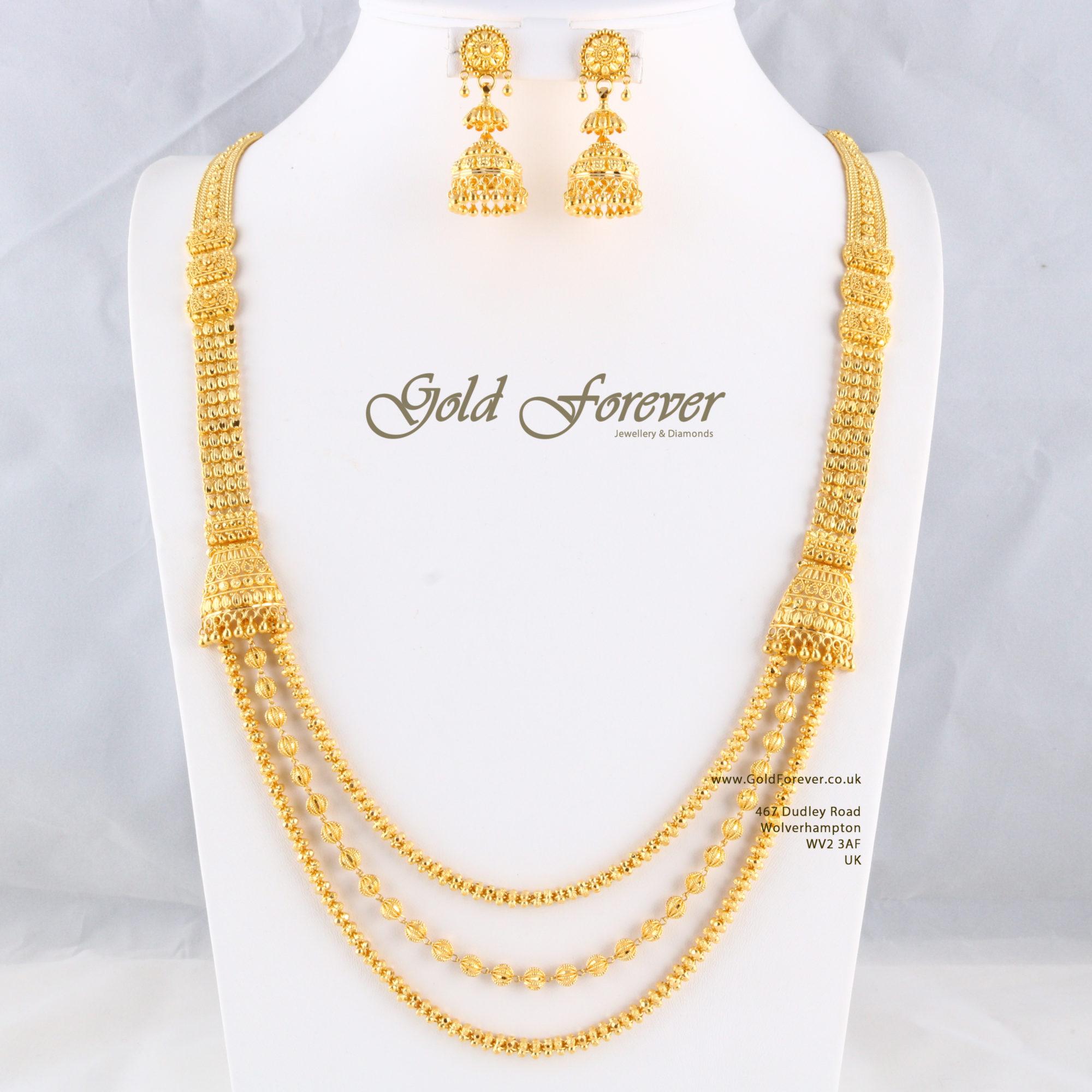 22 Carat Indian Gold Long Necklace 97 5 Grams Code Ls1118006